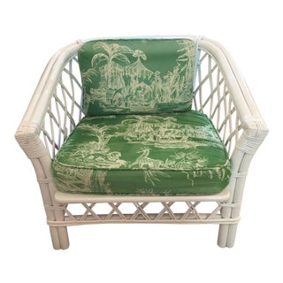 Ficks Reed Vintage Schumacher Fabric Trellis Barrel Chair