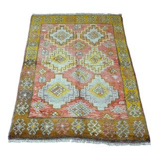Vintage Geometric Turkish Wool Rug - 4′4″ × 6′5″