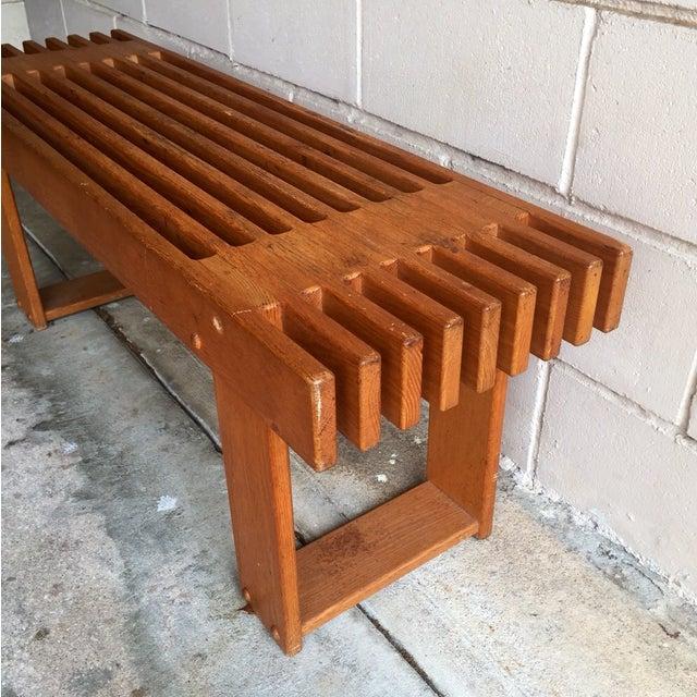 Vintage Oak Slatted Bench - Image 3 of 6