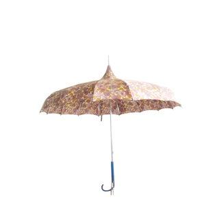 Vintage 1950s Floral Pagoda Umbrella