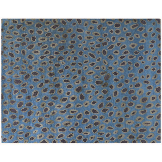 Blue Circle Motif Rug - 8' x 10' - Image 1 of 2