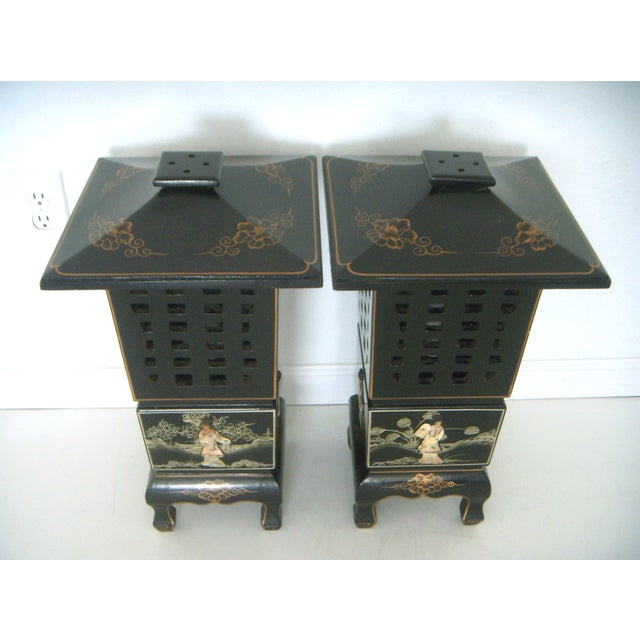 Vintage Lacquered Chinese Lanterns - Pair - Image 2 of 9