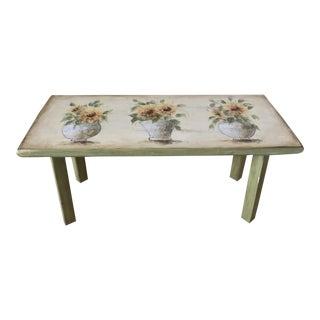 Hand Painted Sunflower Bench Side Table