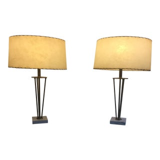 Brass Tripod Table Lamps with Italian Marble Base - A Pair