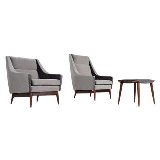 Restored Mid Century Modern 2 Chairs & Ottoman Set