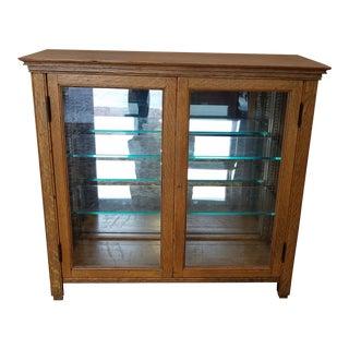 Small Scale Antique Quartered Oak Glass Door Curio Display Cabinet c1900