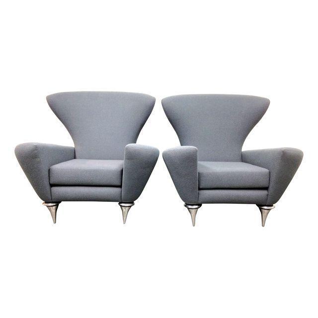 Modern Galerkin Wing Back Chairs - Pair - Image 1 of 7