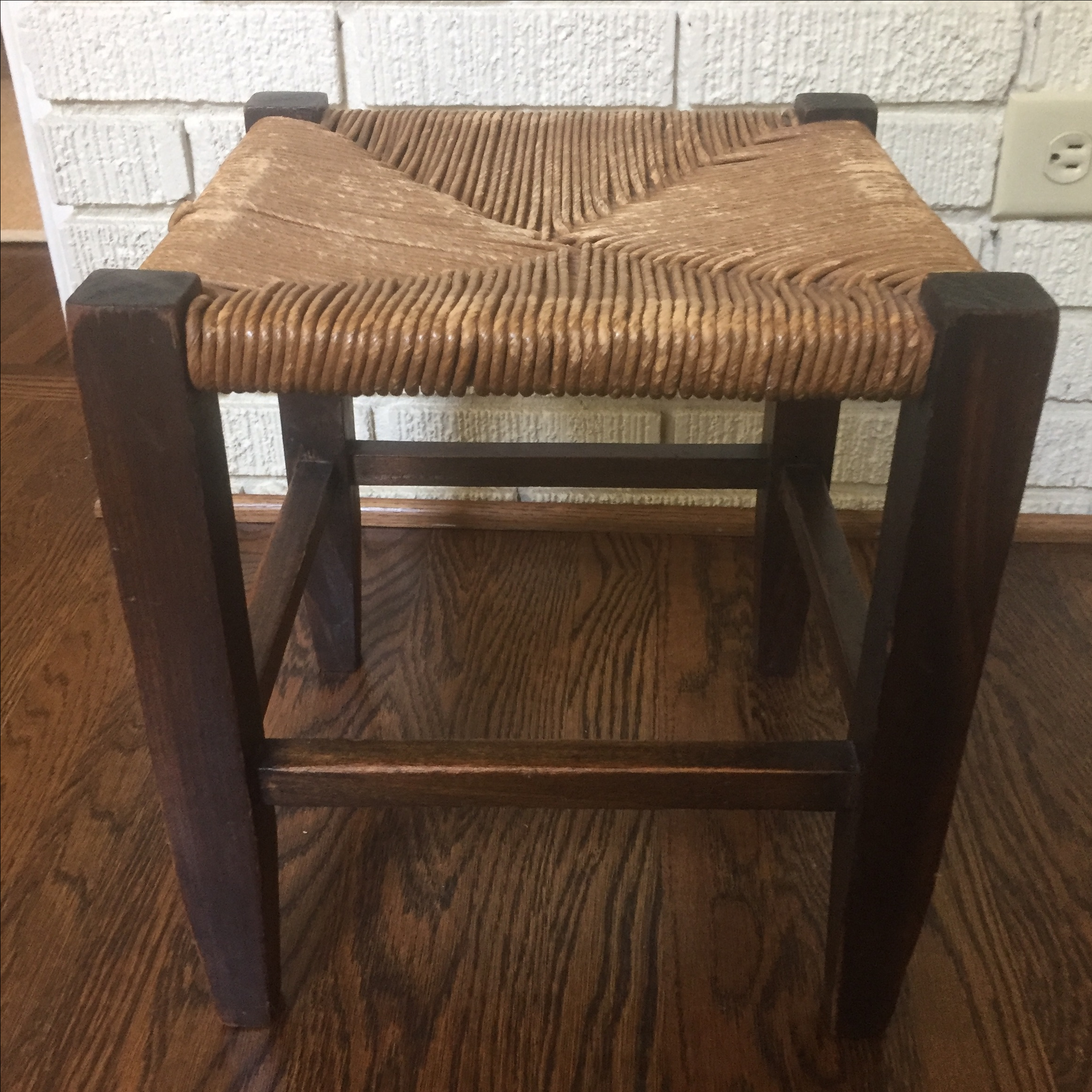 Vintage Oak Rush Stool Chairish