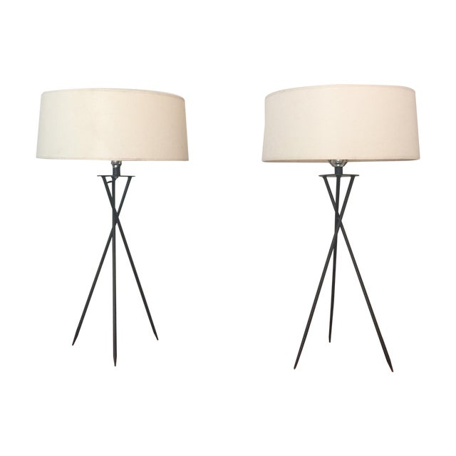 Image of Mid-Century Modern Tripod Table Lamps - A Pair