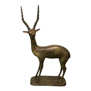 Vintage Gazelle Brass Sculpture