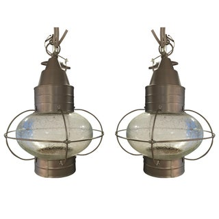 Seeded Glass Onion Pendant Lights - A Pair