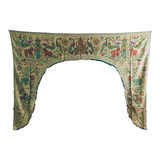 Vintage Green Handmade Indian Toran Door Valance