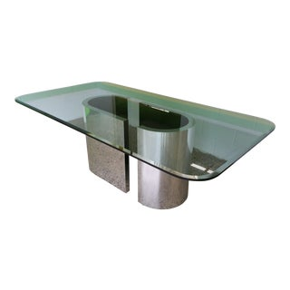 Paul Evans Attributed Chrome & Glass Table