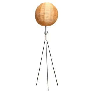 Tripod Floor Lamp with Woven Jute Shade