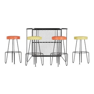 1950s Frederick Weinberg Wrought Iron Bar & Stools - Set of 5