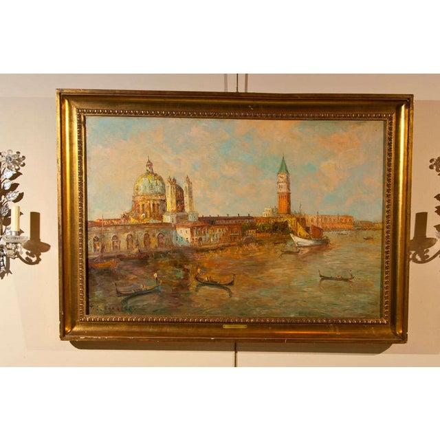 Oil Painting of Venice Harbor by T.L. Novaretti - Image 2 of 9