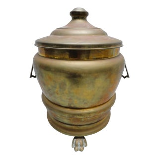 Decorative Solid Brass Waste Basket With Cover