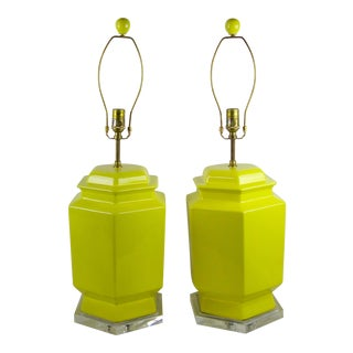Yellow Hexagon Ceramic & Lucite Lamp - A Pair