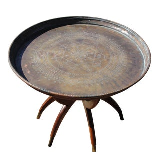 Vintage Brass Tray Table With Folding Base