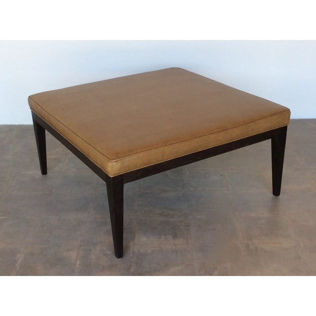 contemporary caramel faux leather coffee table chairish. Black Bedroom Furniture Sets. Home Design Ideas