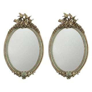 Early 20th Century French Louis XVI Painted and Gilt Oval Carved Mirrors - a Pair