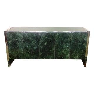 Ello Green Marble & Chrome Credenza