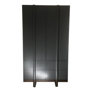 Vintage Modern Black Lacquered Armoire