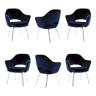 Saarinen for Knoll Executive Arm Chairs in Navy Velvet- Set of 6