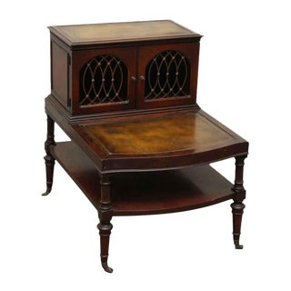 Leather Top Side Table With Shelf