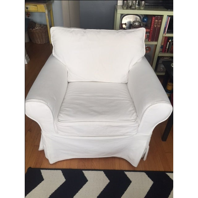 Pottery Barn White Slipcover Armchair - Image 3 of 6