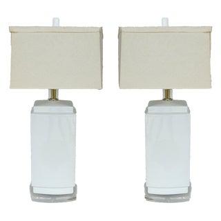Bauer Ceramic & Lucite Table Lamps - A Pair