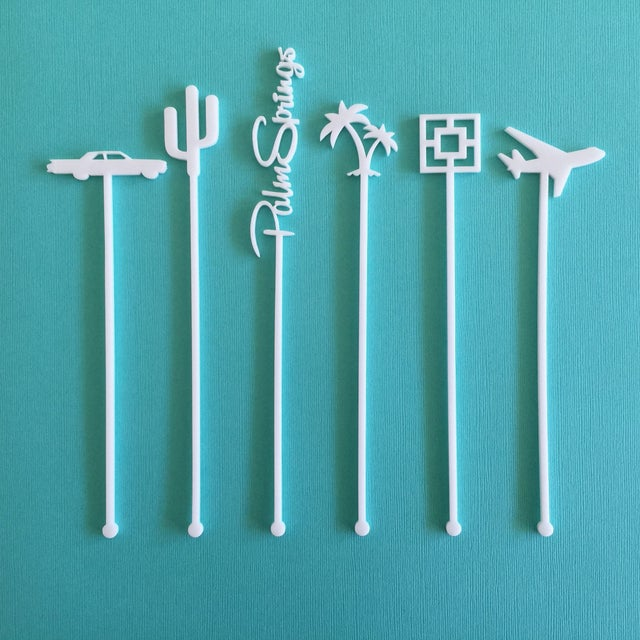 Coral Palm Springs Party Drink Stirrers - S/6 - Image 4 of 7