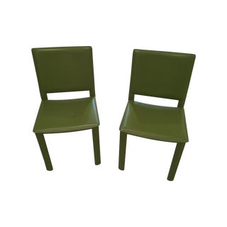 Leather Wrapped Green Dining Chairs - Set of 8