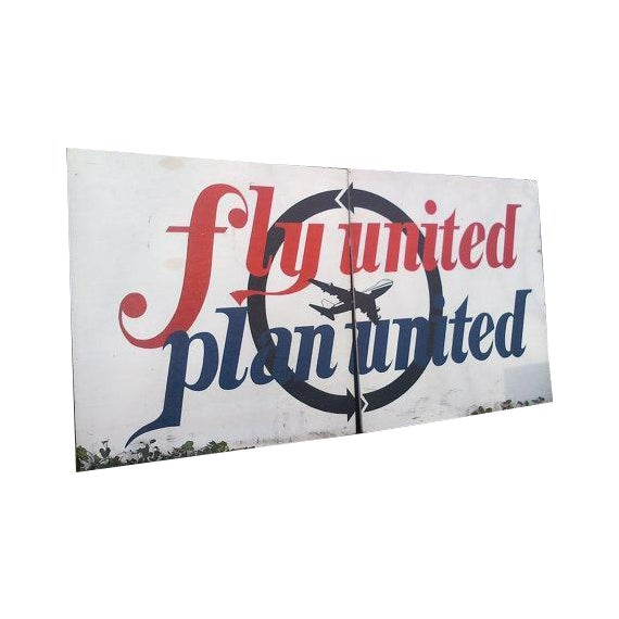 Image of Vintage Handmade Wooden 1970s United Airlines Sign