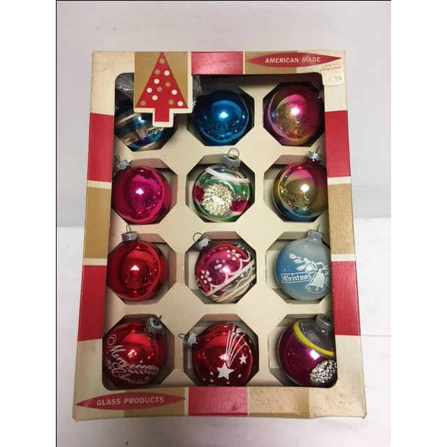 Vintage Glass Christmas Ornaments in Box - Image 2 of 3
