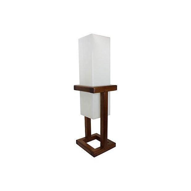 Image of Mid-Century Large Scale Walnut & Acrylic Lamp