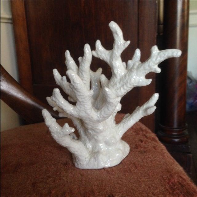 Vintage White Porcelain Coral Accent Piece - Image 6 of 11