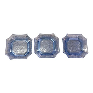Vintage Portieux Blue Glass Plates - Set of 3