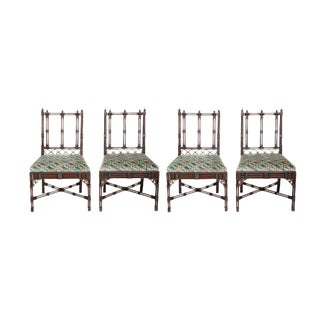 Two Pairs of Georgian Revival Chinese Chippendale Style Chairs