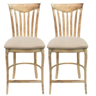 Sarreid Ltd Antiqued Oak Counter Stools - A Pair