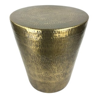 Contemporary Hammered Brass Round Side Table