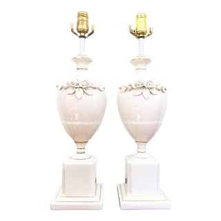 Capodimonte Style Floral Table Lamps - A Pair