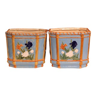 19th Century French Hand-Painted Barbotine Cache Pots With Flowers - A Pair