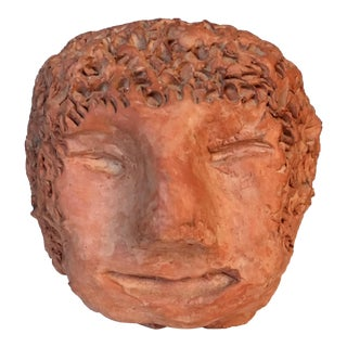 Vintage Mid-Century Clay Head Sculpture