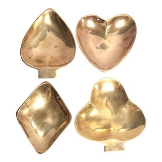 Brass Card Suit Nut Dishes - Set of 4