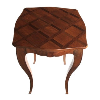 A Graceful and Warmly-Patinated Italian Rococo Style Fruitwood Drinks Table with Parquetry Top - Label: Raffaello Mantovani