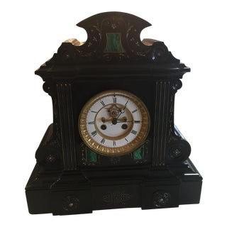 Antique Black Marble & Malachite Mantel Clock
