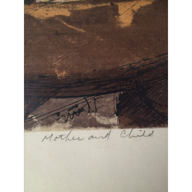 Image of Midcentury Mother and Child Signed Serigraph Large