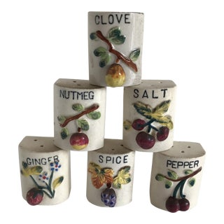 Vintage Ceramic Spice Shakers - Set of 6
