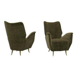 Pair of Italian Salon Armchairs by ISA, 1940s